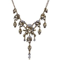 Punk Skulls Tassel Fake Crystal Necklace ($4.91) ❤ liked on Polyvore featuring jewelry, necklaces, imitation jewellery, fake necklace, crystal necklace, fake jewelry and artificial jewellery