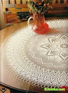 Scheme crochet no. 1800 - Her Crochet Crochet Tablecloth Pattern, Crochet Doily Patterns, Thread Crochet, Filet Crochet, Crochet Motif, Knitting Patterns, Crochet Doily Diagram, Crochet Round, Crochet Home