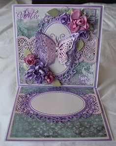 Purple Pixie Dust Card's: With Love Easel Calendar Card (awaiting mini calendar) Butterfly Cards, Flower Cards, Purple Pixie, Crafters Companion Cards, Purple Cards, Birthday Cards For Women, Anna Griffin Cards, Easel Cards, Fun Fold Cards