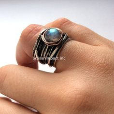 Gypsy ring Silver engagement ring Garnet ring wire by artisanlook