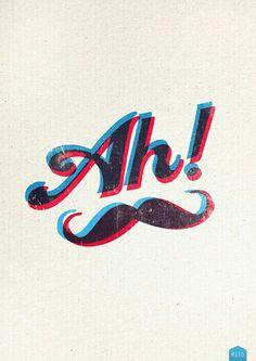 Blue & Red 3D Moustache