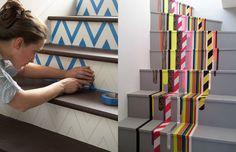 Escadas- para decorar a casa com WashiTape (decotape);