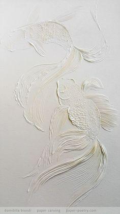 detail of Kingyo from the Japanese Art Series June 2016 domitilla Pattern Texture, Art Texture, Japanese Paper Art, Art Blanc, Deco Zen, Plaster Art, Art Decor, Decoration, Sculpture Painting