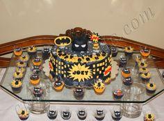 Batman Cake and Brazilian Coconut Candy and Chocolate Candy   ( The name is Beijinho de Coco and Brigadeiro).