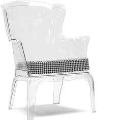 Baxton Studio Tasha Clear Polycarbonate Modern Accent Chair ($353) ❤ liked on Polyvore featuring home, furniture, chairs, accent chairs, clear, colored furniture, mod furniture, modern furniture, patterned chair and euro furniture