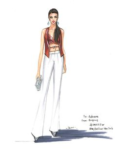 Fashion illustration of Adriana Lima by Rongrong DeVoe during NYFW