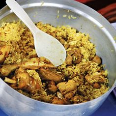 Chicken Biriyani from Thailand. Although this dish is traditionally made with a whole, cut-up chicken, we've found that thighs and drumsticks work just as well. This recipe is an adaptation of one in Nancie McDermott's seminal cookbook Real Thai.