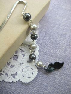 Moustache  black grey glass pearls bookmark Other by buysomelove, $5.00