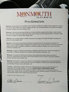 MONMOUTH, IL – Mayoral proclamation recognizing Diaper Need Awareness Week (Sept 25-Oct 1) #DiaperNeed Diaperneed.org