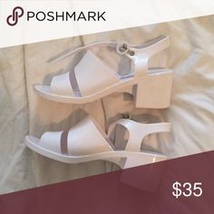 American apparel white jelly heel sandals AA white heeled sandals perfect for summer. American Apparel Shoes Sandals