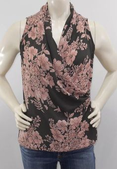22317fa8baed CAbi XS Pink Taupe Blouse #594 Rosewater Faux Wrap Floral Blouse Sleeveless  | eBay Rose