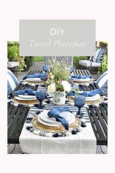 Summer Tablescapes Diy Place Settings, Summer Table Decorations, Diy Tassel, Outdoor Furniture Sets, Outdoor Decor, Sun Lounger, Tablescapes, Posts, Places