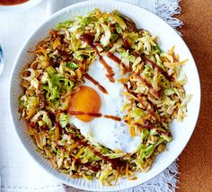 Save on the washing up with this speedy supper for one, with wholesome ingredients like Chinese cabbage and brown rice, finished with a fried egg