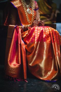 South Indian Bridal Saris - Kanjivaram Sari Orange and Gold Indian Attire, Indian Ethnic Wear, Saris, Indian Dresses, Indian Outfits, Indian Clothes, Western Outfits, Indian Sarees, Silk Sarees