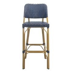 Designed with casual tropical vibe, the navy Deltana indoor/outdoor bar stool by Safavieh is styled with classic wrapped detailing on its faux bamboo frame. Rattan Bar Stools, Outdoor Bar Stools, Bar Chairs, Lounge Chairs, High Back Bar Stools, Indoor Outdoor, Outdoor Living, Outdoor Sofas, Caitlin Wilson Design