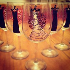 @Karen Harber (my best friend) created these custom hand painted wine glasses and sells them on Etsy....What a talent!