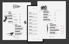 Art of the Menu: La Flèche Menue Design, Menu Card Design, Food Menu Design, Layout Design, Web Design, Restaurant Identity, Restaurant Menu Design, Wood Menu, Delivery Menu