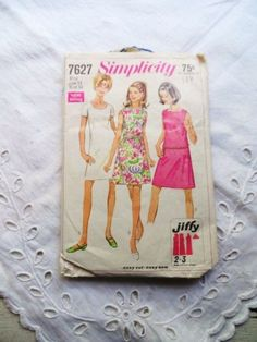 SMIPLICITY 7627 Dress Pattern-A Line Dress-Neckline Variations-1968 A Line Dress-Vintage Fashion-Sewing-Simple Sew-Orphaned Treasure-071816 by OrphanedTreasure on Etsy