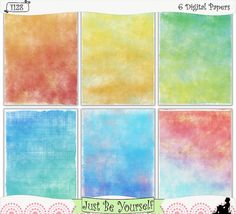 """Distressed Painted Layers Instant Download by JustBYourself.  Beautiful distressed layers of blue, green, orange, red, and yellow are featured on these digitally painted printable art journal papers. Instant download collection of 6 - 8.5"""" x 11"""" papers. (1128) $2.50"""