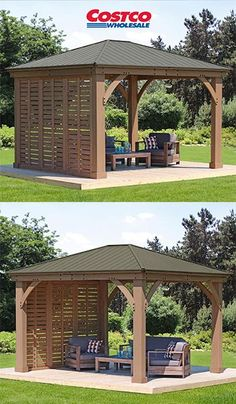 Gazebo Privacy Wall - Best Picture For round Pergola For Your Taste You are looking for something, and it is going to t - Outdoor Gazebos, Backyard Gazebo, Backyard Patio Designs, Pergola Designs, Backyard Landscaping, Shade Ideas For Backyard, Gazebo On Deck, Costco Gazebo, Pavillion Backyard