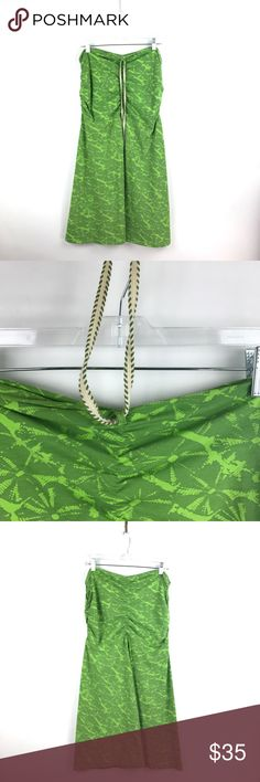 "Lucy Activewear Halter dress green abstract L 756 Lucy Activewear Strapless Halter Tie Neck Dress Size L Green Abstract Print 756  Measurements: Bust:  18"" Flat Across Waist:  16"" Flat Across Length:  33.5""  Long  In good preowned condition with no known flaws and light overall wear. Lucy Dresses"