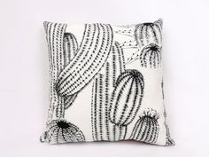 Black Cacti Mexican Inspired Throw Pillow / Cacti and Flowers Pillow