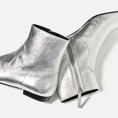 ZARA - WOMAN - LAMINATED LEATHER ANKLE BOOTS