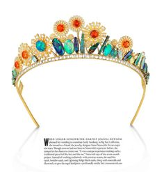 Modern, one of a kind opal, emerald, and diamond tiara set in gold. Designed by Irene Neuwirth for Joanna Newsom's wedding to Andy Samberg in 2013