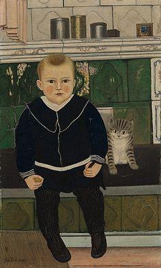 """Adolf Dietrich (Swiss, 1877-1957) - """"Bübchen mit Kätzchen"""" (Boy with kitten), 1927 - Stiftung für Kunst, Kultur und Geschichte, Winterthur"""