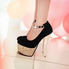 Cute strappy ankle pump w sequined sole US Size black High Shoes, High Heels Stilettos, Shoes Heels, Trendy Shoes, Cute Shoes, Me Too Shoes, Diy Clothes And Shoes, Stripper Heels, Shoe Image