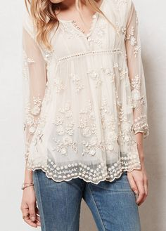Elora Peasant Top by Anthropologie. I am in love with this romantic top. Gorgeous.