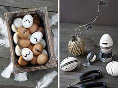 Ideen männchen-aus eiern basteln-osterdekoration schnurrbart schwarz