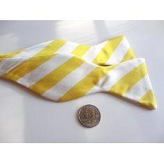 Marlon Garci 100% Woven Silk Yellow & White Stripe Self-Tie Bow Tie