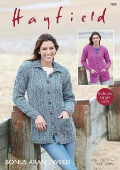 53eb2880644763 Collared and Round Neck Cardigans in Hayfield Bonus Aran Tweed - 7895  Cardigan Pattern