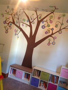Kids room with painted tree and cubbies