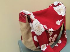 Red  and white Blossom, Cotton Handbag, ECO friendly, lightweight, lined £15.00
