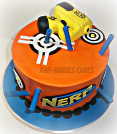 Nerf Gun cake - White velvet cake with choclate buttercream. Gun is RKT. Nerf Birthday Party, Nerf Party, 7th Birthday, Birthday Ideas, Kendall Birthday, Birthday Cakes, Nerf Gun Cake, Gun Cakes, White Velvet Cakes