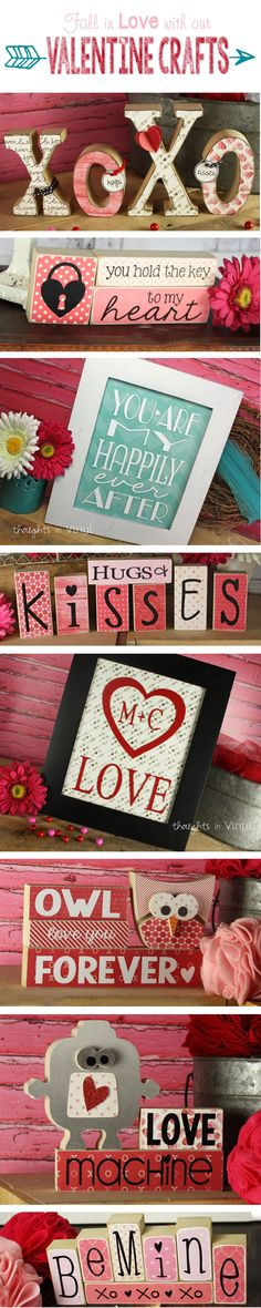 Lots of cute Valentine's Day wood crafts!  Wooden Letters and shapes and cute vinyl lettering layouts!  Over 30 different ones to pick from!!