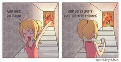 Bite-sized comics with dry humor for the broken souls. Fire Image, Dry Humor, Broken Soul, Trending Memes, Funny Jokes, Geek Stuff, Cartoon, Comics, Entertaining