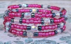 Hot Pink and Gray Beaded Memory Wire Bracelet