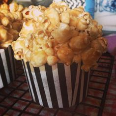 I made caramel popcorn cupcakes for my friend's Hollywood-themed 21st!