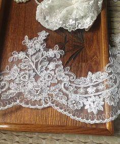 alencon lace fabric trim in ivory, tulle bridal wedding veil lace trim, retro scallop lace trim