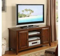 Hilborne 52-Inch TV Console Burnished Cherry Finish - by Riverside (Moore's Furniture)