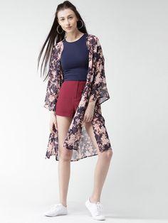 2d568d2b3d4 Buy FOREVER 21 Navy Blue   Off-White Floral Print Longline Shrug online.  Western OutfitsWestern WearLong ...