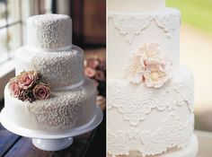 02 Spitze Hochzeitstorte dekoration blume beige elegant individuell Andere Spitze Hochzeit Inspiration