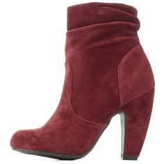 Charlotte Russe Burgundy Bamboo Slouchy Chunky Heel Booties by... ($39) ❤ liked on Polyvore featuring shoes, boots, ankle booties, burgundy, burgundy boots, chunky booties, lug sole boots, chunky boots and faux suede booties