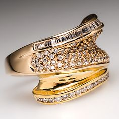 Stephanie Genuine Diamond Ring w/ Round Brilliants & Baguettes in 14K & 22K Gold