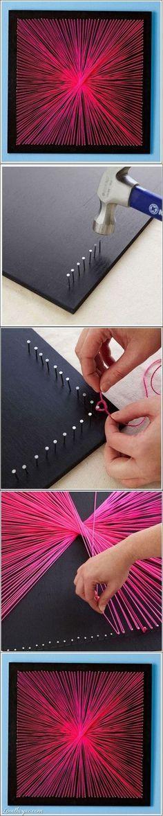 DIY String Art #DIY #homedecor http://www.laladecor.com/