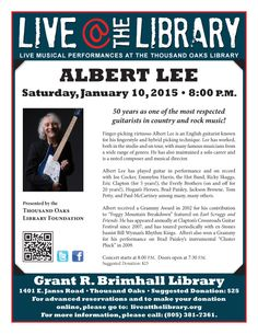 Guitar Legend Albert Lee in Concert at the Thousand Oaks Library on Saturday, January 10, 2015.