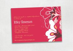 Riley Rich Red Floral PRINTABLE Invitation Card. Baptism, Birthday, Bridal or Baby Shower, Wedding, Save the Date. Beautiful.